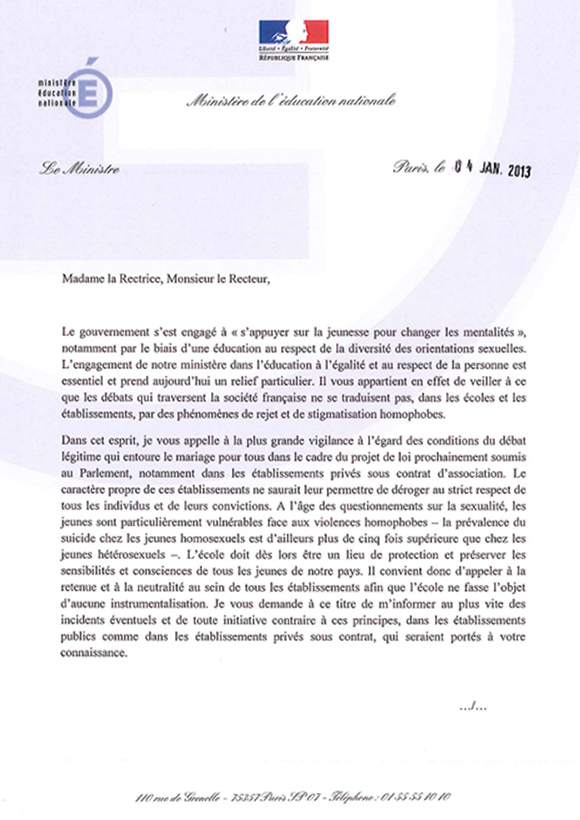 Lettre de Vincent Peillon aux recteurs d'Académie