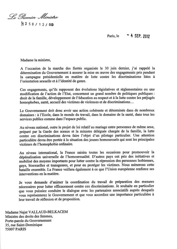 Lettre de mission du Premier Ministre à Najat Vallaud-Belkacem