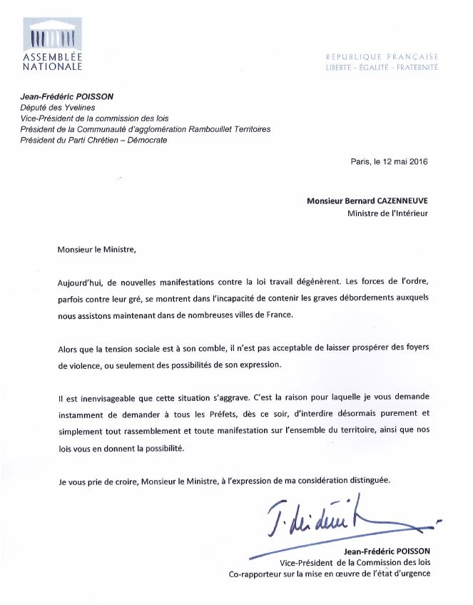 Courrier à Bernard Cazeneuve