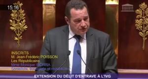 Délit d'entrave à l'IVG – Intervention de Jean-Frédéric Poisson dans l'hémicycle le 1er décembre.