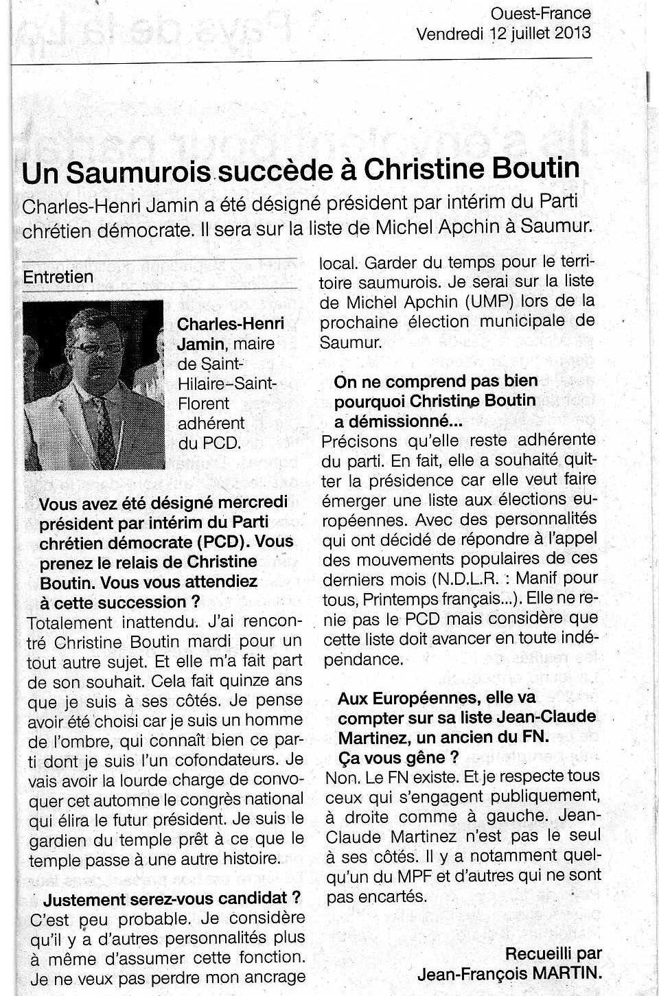 130712 Intérim CHJ Ouest-France