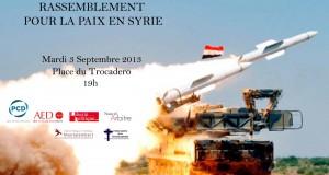 APPEL A LA PAIX EN SYRIE  : mardi 3 septembre à Paris