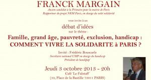 Jeudi 3 octobre : Débat d'idées – Famille, grand âge, pauvreté, exclusion, handicap : comment vivre la solidarité à Paris ?