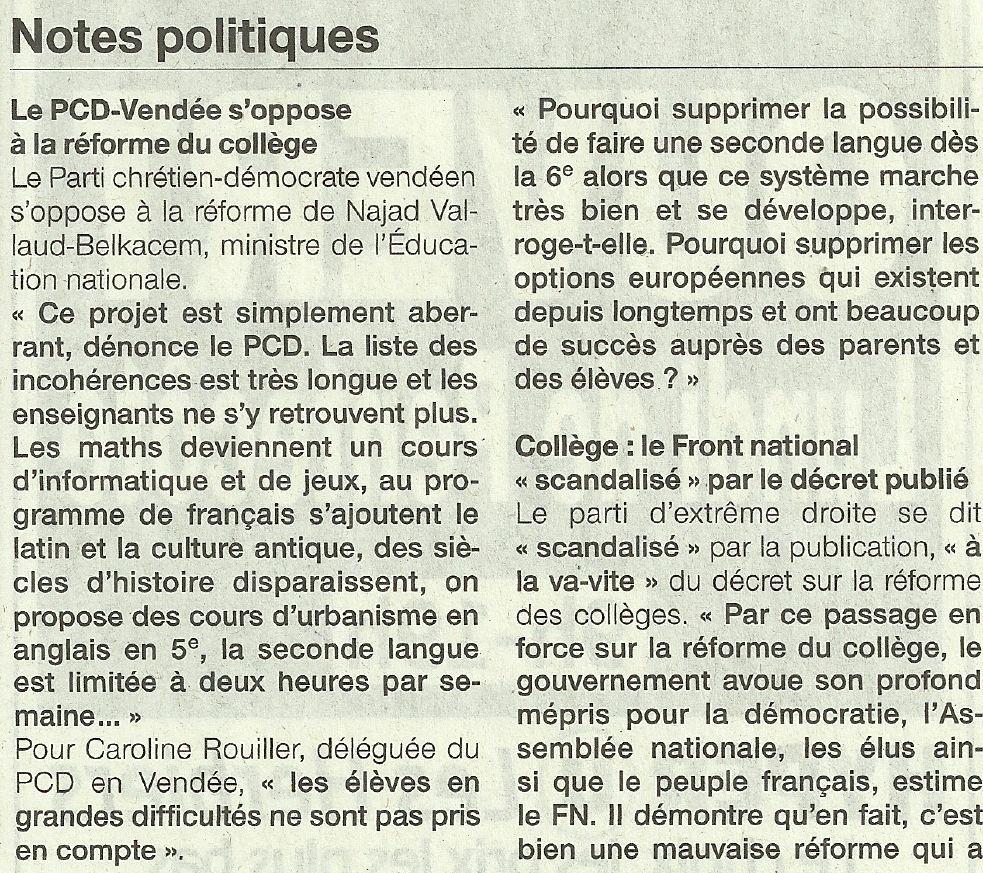 Ouest France PCD Vendée