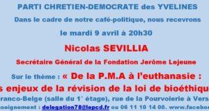 Café-politique du PCD 78 à Versailles le mardi 9 avril : P.M.A, euthanasie : les enjeux bioéthiques
