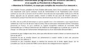 Jean-Frédéric Poisson, Président du Parti Chrétien-Démocrate, dénonce l'euthanasie programmée de Vincent Lambert !