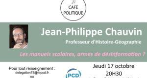 Prochain café-Politique du PCD 78 à Versailles le jeudi 17 octobre à 20h30