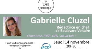 Gabrielle Cluzel invitée du café politique PCD 78 à Versailles le 14/11 à 20H30