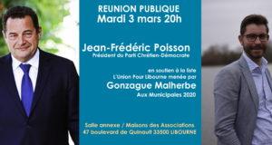 Réunion publique de Jean-Frédéric Poisson à Libourne – mardi 3 mars 2020 à 20h