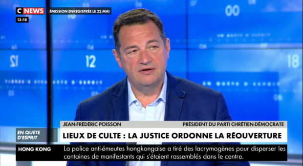 Jean-Frédéric Poisson sur CNEWS suite à la décision du Conseil d'Etat de rétablir les célébrations cultuelles